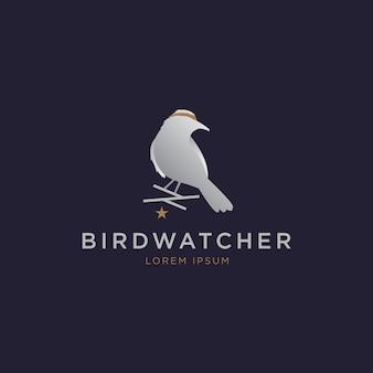Elégant logo oiseau argenté