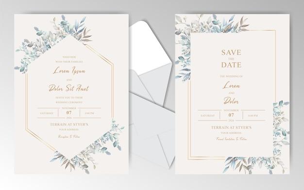 Élégant mariage aquarelle stationnaire avec de belles feuilles