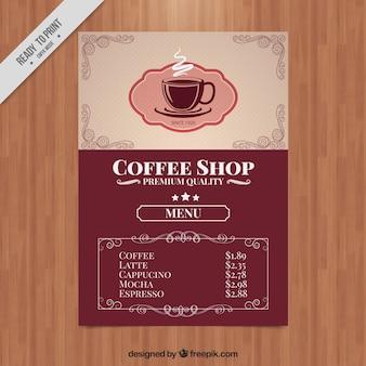 Elégant menu café dans le style rétro