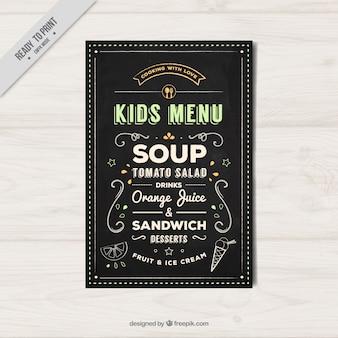 Elégant menu enfants dans le style vintage