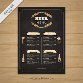 Elégant menus de la bière dans un style tableau noir