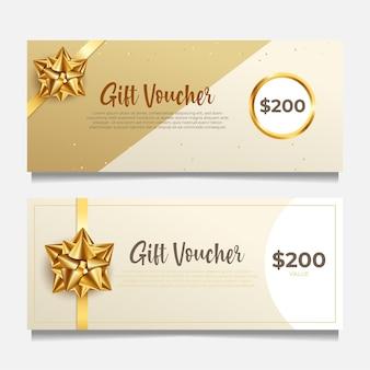 Élégant modèle de bon cadeau avec un style doré.