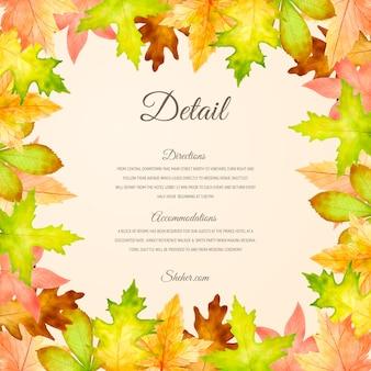 Élégant modèle de carte d'invitation de mariage automne