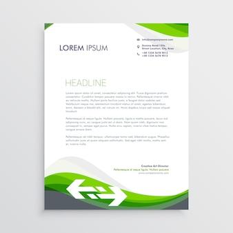Élégant modèle de conception de papier à en-tête vert et gris