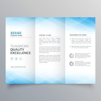 Élégant modèle de conception de prospectus brochure bleue à trois volets