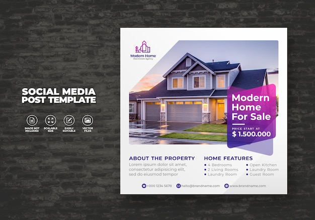 Élégant moderne maison de rêve maison immobilier à louer campagne de vente de médias sociaux post vecteur de modèle