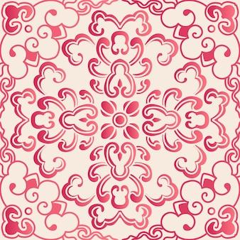 Élégant motif de courbe de fleur botanique de style chinois sans soudure. conception de papier peint rétro traditionnel.