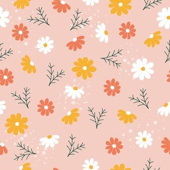 Élégant motif floral en petites fleurs blanches et jaunes style liberty