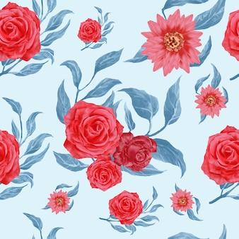 Élégant motif floral sans couture aquarelle
