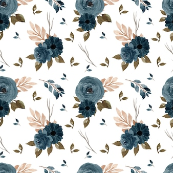Élégant motif floral sans couture bleu indigo