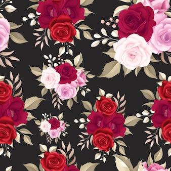 Élégant motif floral sans couture avec des roses marron