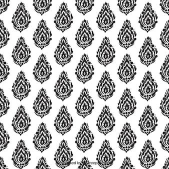 Élégant motif thaïlandais noir et blanc