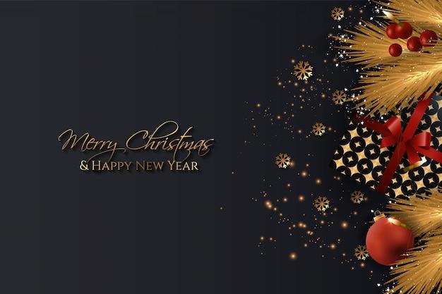 Élégant noël et nouvel an noir et or avec des éléments de noël réalistes