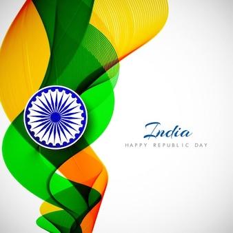 Elégant ondulé drapeau indien thème fond