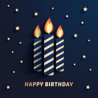 Élégant or anniversaire papier bougies coupe illustration