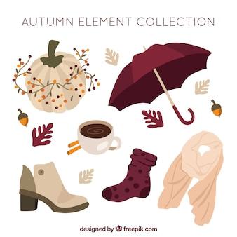Élégant paquet d'éléments d'automne