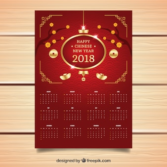 Élégant rouge chinois calendrier du nouvel an