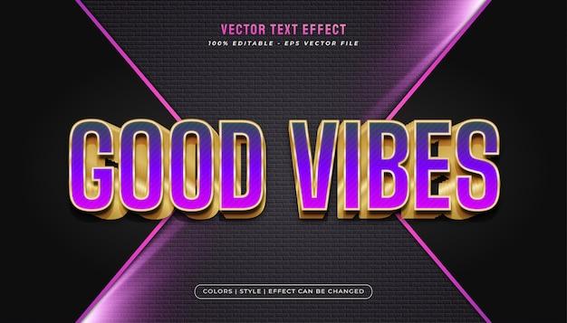 Élégant style de texte violet et or audacieux avec effet en relief
