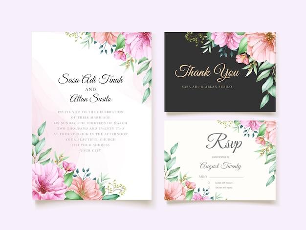 Élégant thème d'invitation de mariage de fleur de cerisier