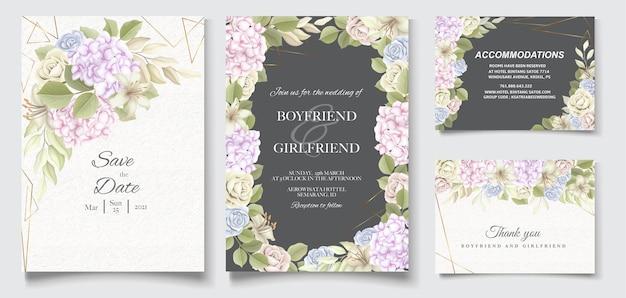 Élégante belle invitation florale et de mariage