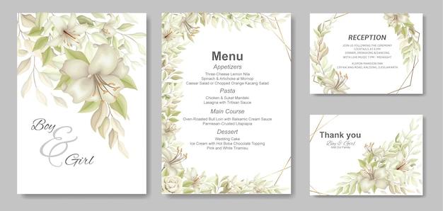Élégante belle invitation de mariage et floral doux
