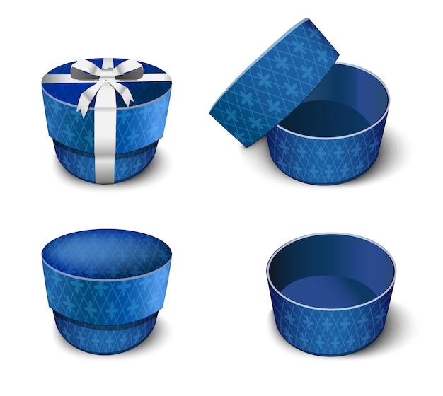 Élégante boîte cadeau ronde bleue pour les bijoux. bande dessinée illustration sous différents angles.