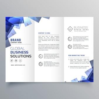 Élégante brochure à trois volets avec des formes abstraites bleu