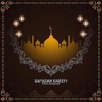Élégante carte de festival ramadan kareem décorative avec mosquée