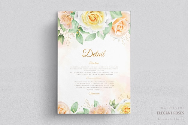 Élégante carte de mariage floral aquarelle