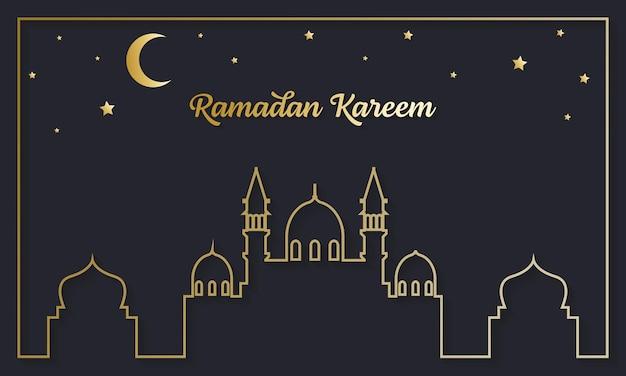 Élégante carte de voeux ramadan kareem avec mosquée et croissant de lune