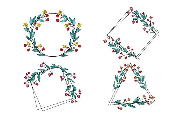 Élégante collection de cadres d'ornement floral