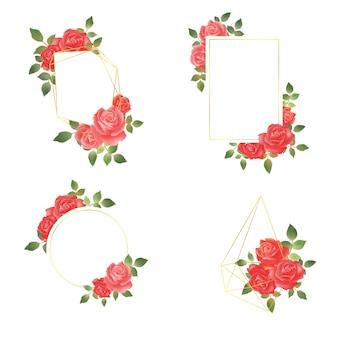 Élégante collection de cadres rose aquarelle