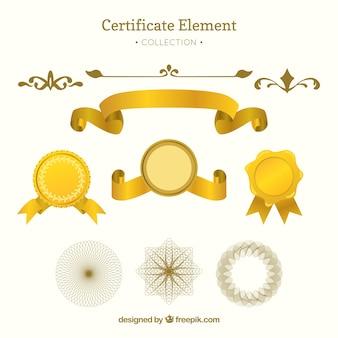 Élégante collection d'éléments de certificat avec un design plat