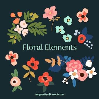 Élégante collection d'éléments floraux avec un design plat
