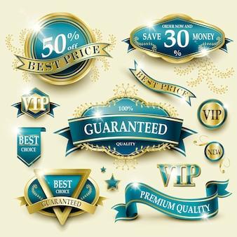 Élégante collection d'étiquettes de cadre doré bleu pour une utilisation au détail