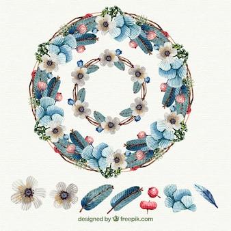 Élégante couronne florale aquarelle