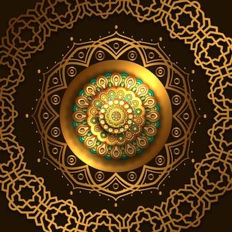 Élégante décoration de cercle de luxe mandala doré
