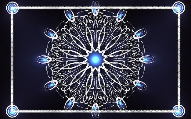Élégante décoration de mandala bleu foncé