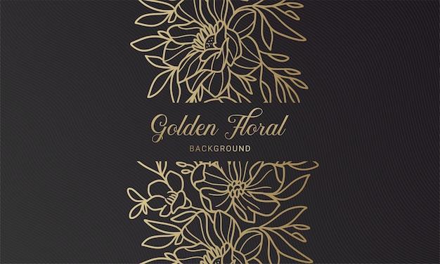 Élégante feuille de plante florale noire et or fond illustration dessiné à la main