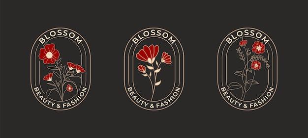 Élégante fleur rose avec création de logo de badges de cercle.