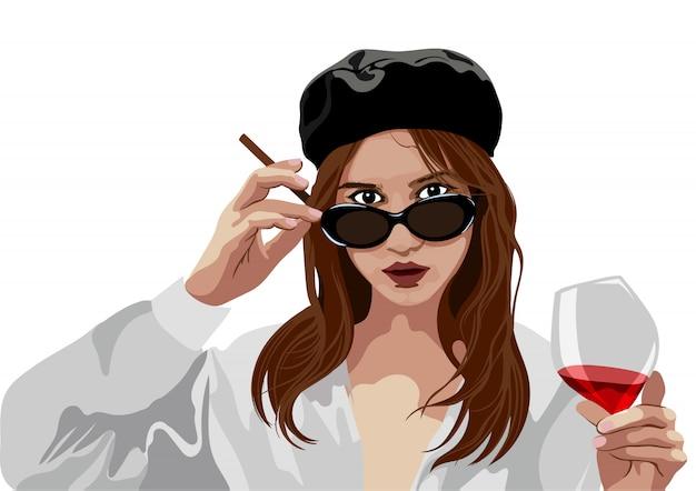 Élégante jeune fille avec béret chapeau et verres tenant un verre de vin et de cigarette