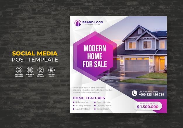 Élégante maison de rêve moderne à vendre immobilier modèle de poste de médias sociaux