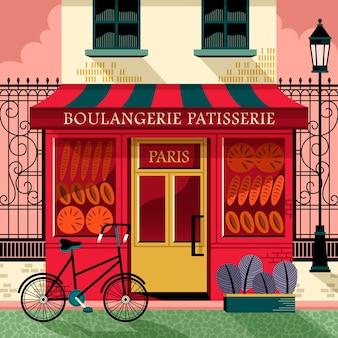 Élégante pâtisserie française dans un style plat