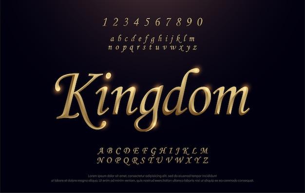 Élégante police d 'alphabet golden metal color chrome. royaume