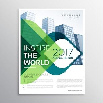 Élégante présentation de la brochure conception du modèle de dépliant avec des formes vertes et bleues