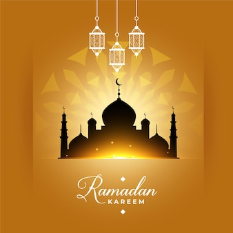 Élégante salutation de la mosquée ramadan kareem