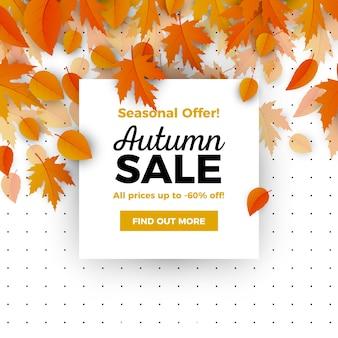 Élégante vente automne composition avec un design réaliste
