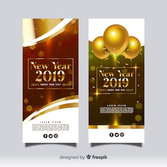 Élégantes bannières de fête du nouvel an 2019 avec un design réaliste