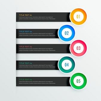 Élégantes bannières infographiques avec cinq étapes