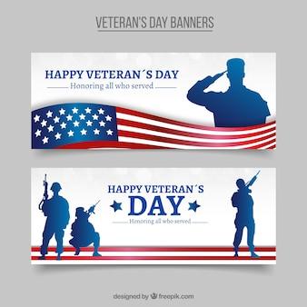 Élégantes bannières vétérans de jour avec des silhouettes